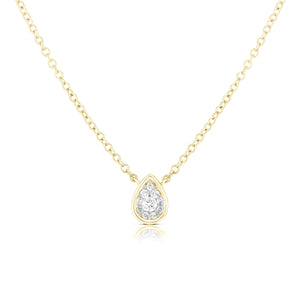 Pear Cluster with Bezel Necklace - Yellow Gold - Urbaetis Fine Jewelry