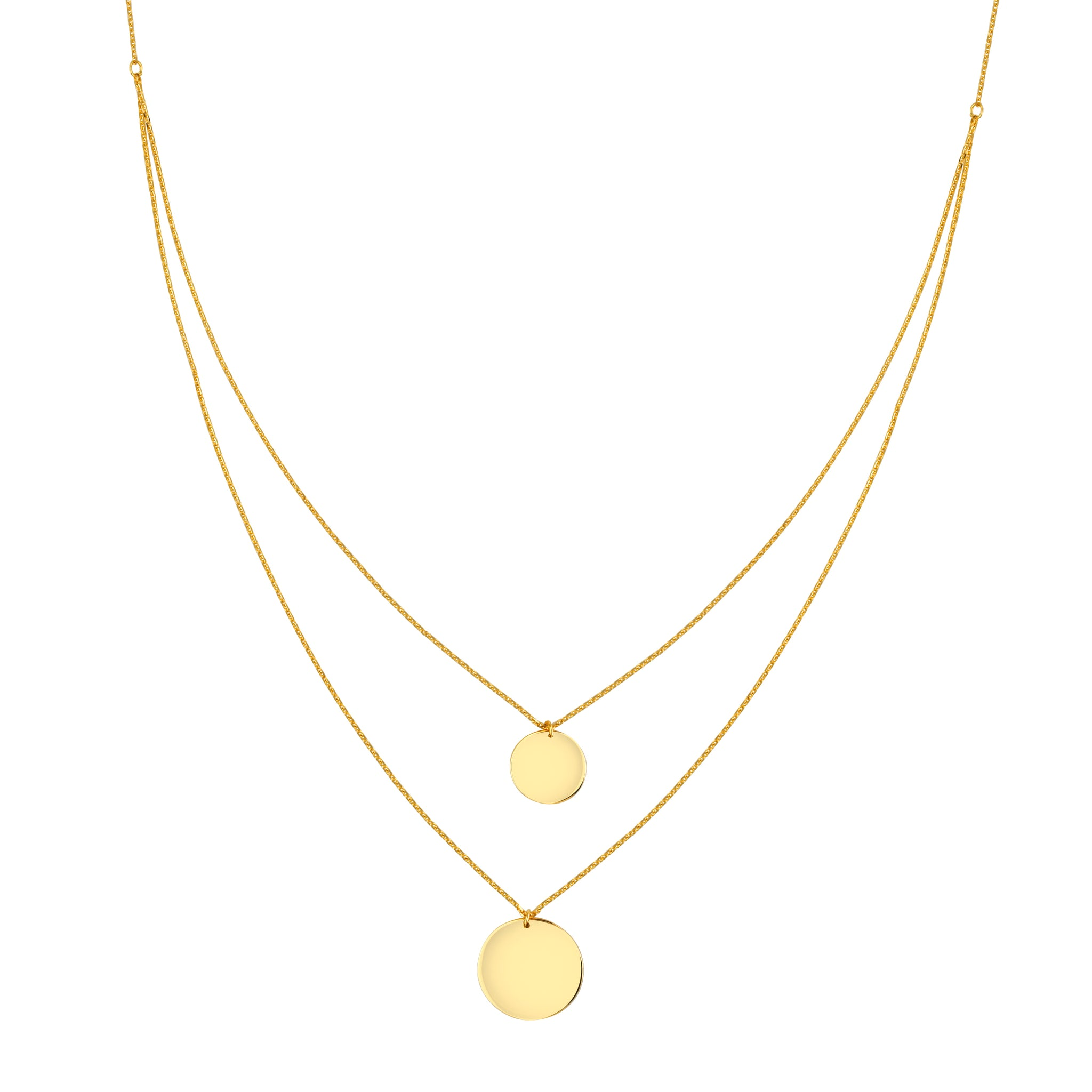 dainty small gold pendant medallion disk necklace minimalist coin pin delicate