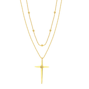 Layered Bead and Cross Necklace x Diamond - ByURBAE