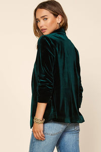 Ashley Velvet Blazer- Hunter Green (PREORDER)