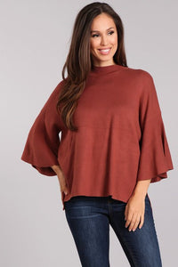 Beth Bell Sleeve Top- Rust