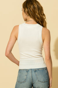 Chrissy Fitted Ribbed Tank- White