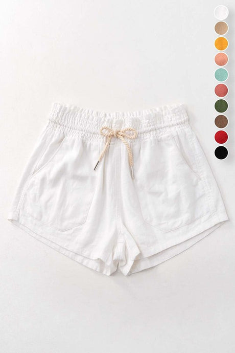 Linen Drawstring Shorts- White