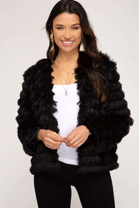 Rowan Shag Jacket- Black