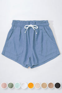 Linen Drawstring Shorts- Blue Stone