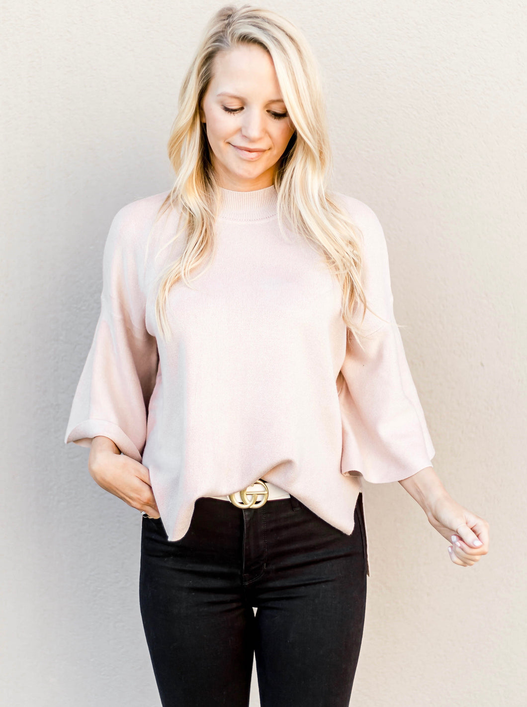 Beth Bell Sleeve Top- Blush