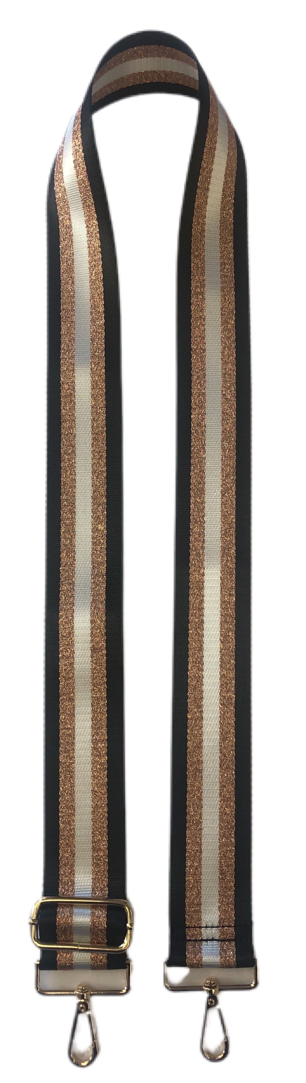 Blake Strap- Black/Gold/White Stripe