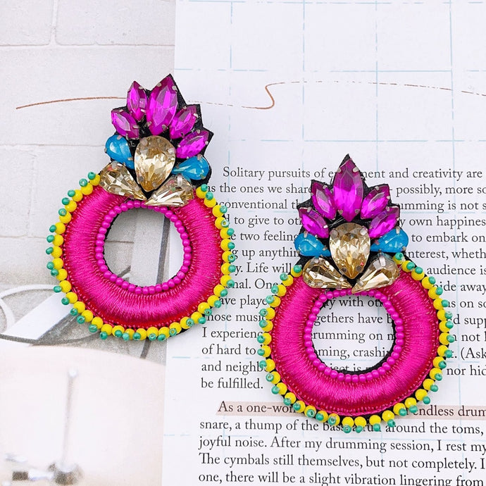 Fire Pink Earrings