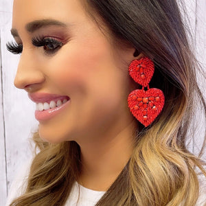 Double Red Heart Earrings