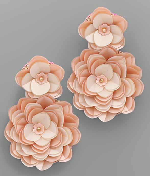 Jamie Double Flower Earrings- Pink
