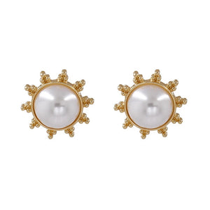Sun Stud Pearl Earrings