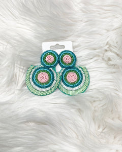 Bugle Bead Earrings- Mint