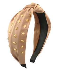 Star Knotted Headband- Tan