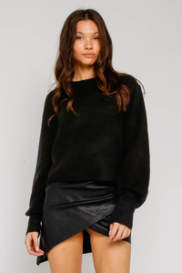 Allison Bubble Sleeve Sweater- Black