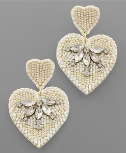 Sweetheart Rhinestone Earrings-White