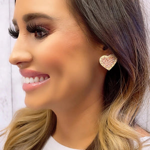 Nude Heart Stud Earrings