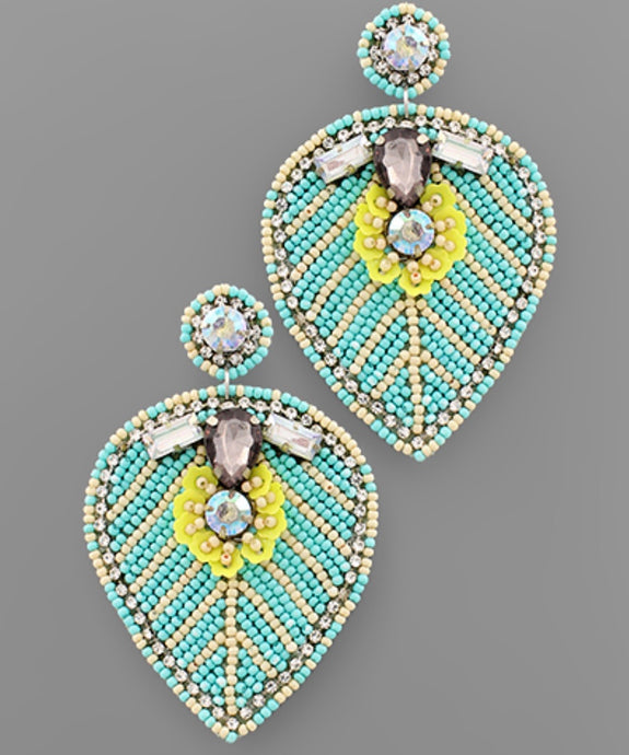 Bead Leaf Earrings- Aqua/Multi