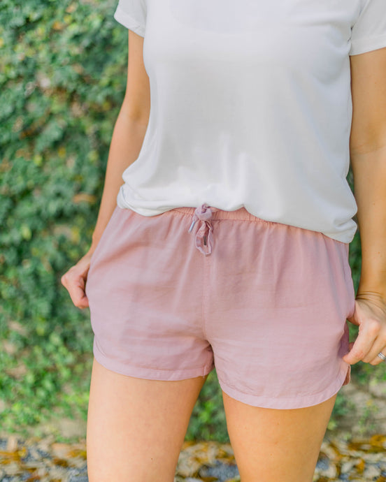 Tencel Drawstring Shorts- Pink Stone