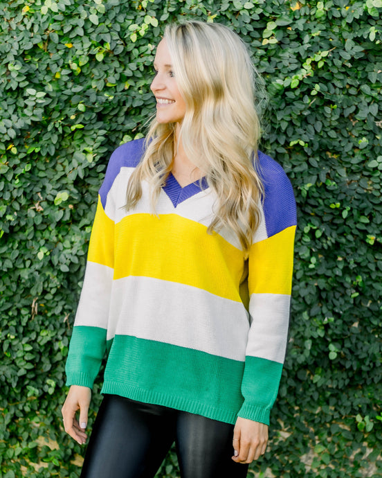 Mardi Gras Color Block V-Neck Sweater