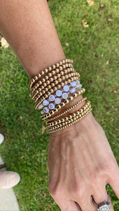 Gold Ball Stackable Bracelets- Shinny