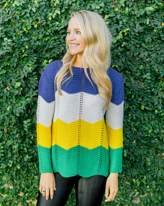 Mardi Gras Yarn Sweater