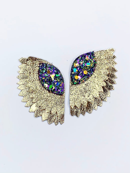Mardi Gras Wing Earrings- Small Gold