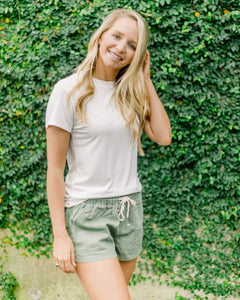 Linen Drawstring Shorts- Light Olive