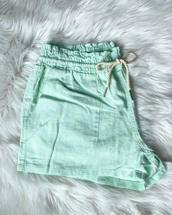 Linen Drawstring Shorts- Fresh Mint