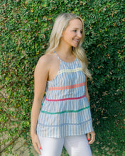 Tracey Striped Halter- Blue