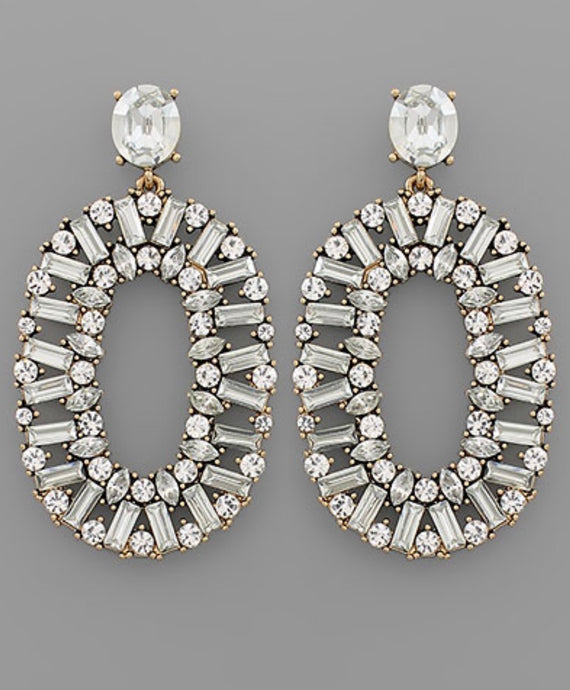 Rhinestone Oval Earrings