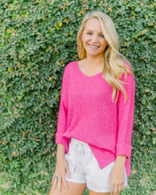 Grant Crew Neck Sweater- Hot Pink