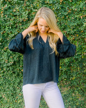 Jackie Floral Blouse-Charcoal