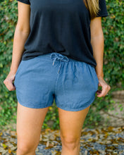 Tencel Drawstring Shorts- Blue