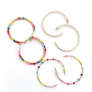 Beaded Hoops- Rainbow & Gold