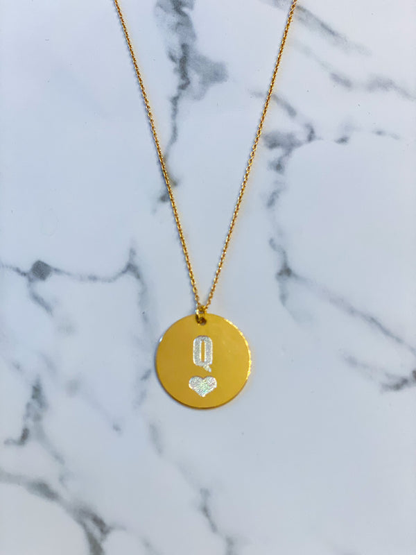 Queen of Hearts Engraved Silver/24K Gold Coating*