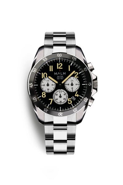 DALTON Black White Panda Chronograph 41 - MALM watches