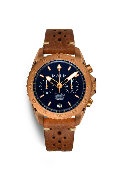 Catalina Blue Bronze Aeronautical Chronograph 41 - MALM watches
