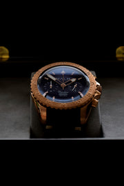 Catalina Blue Bronze Aeronautical Chronograph 41 Brown Race - MALM watches