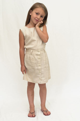 Linen Button Down Skirt - CrossBorderWear