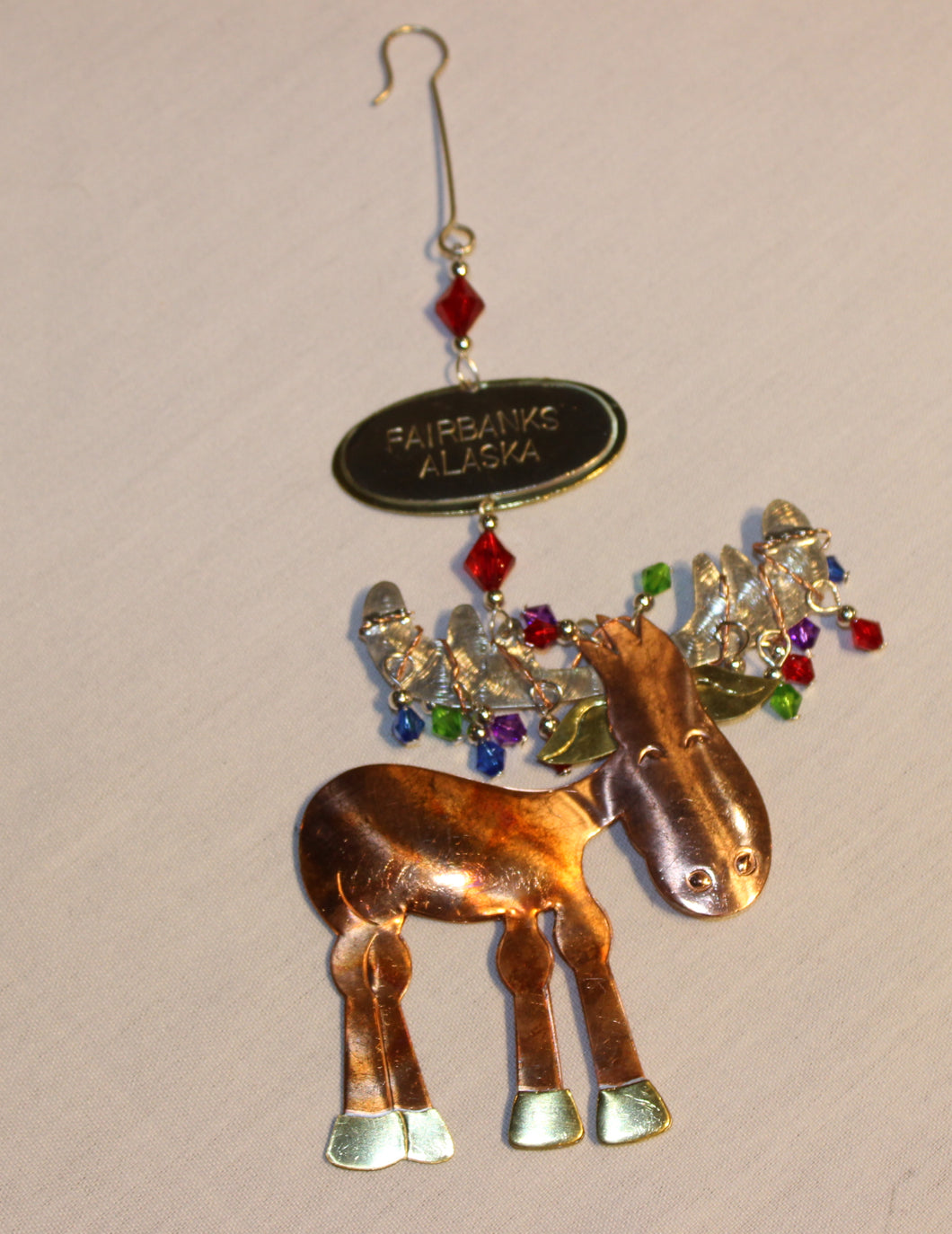 Small Moose Metal Ornament
