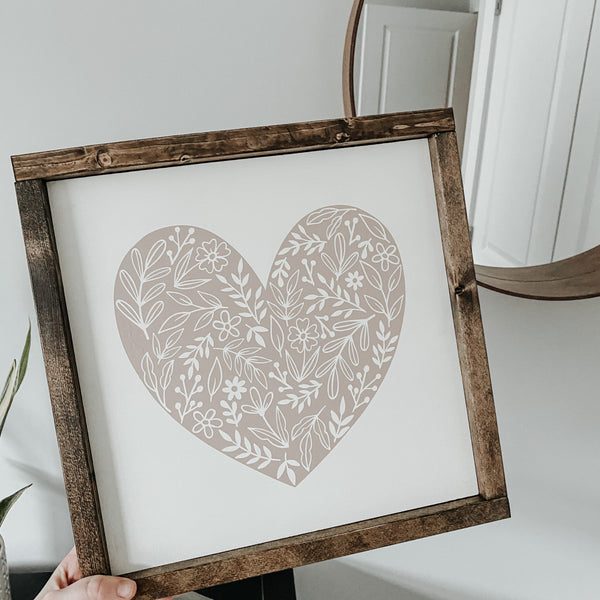 Floral Heart | Framed Sign