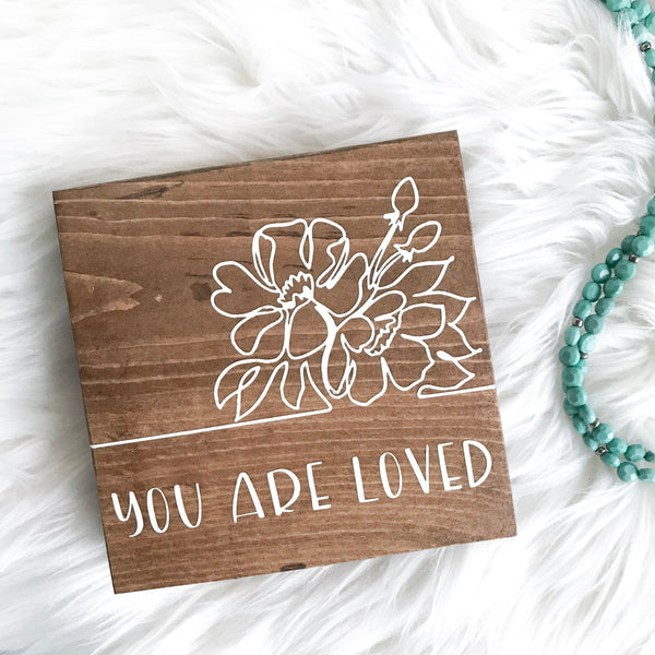 You Are Loved (One Line Drawing) | Wood Desk Block
