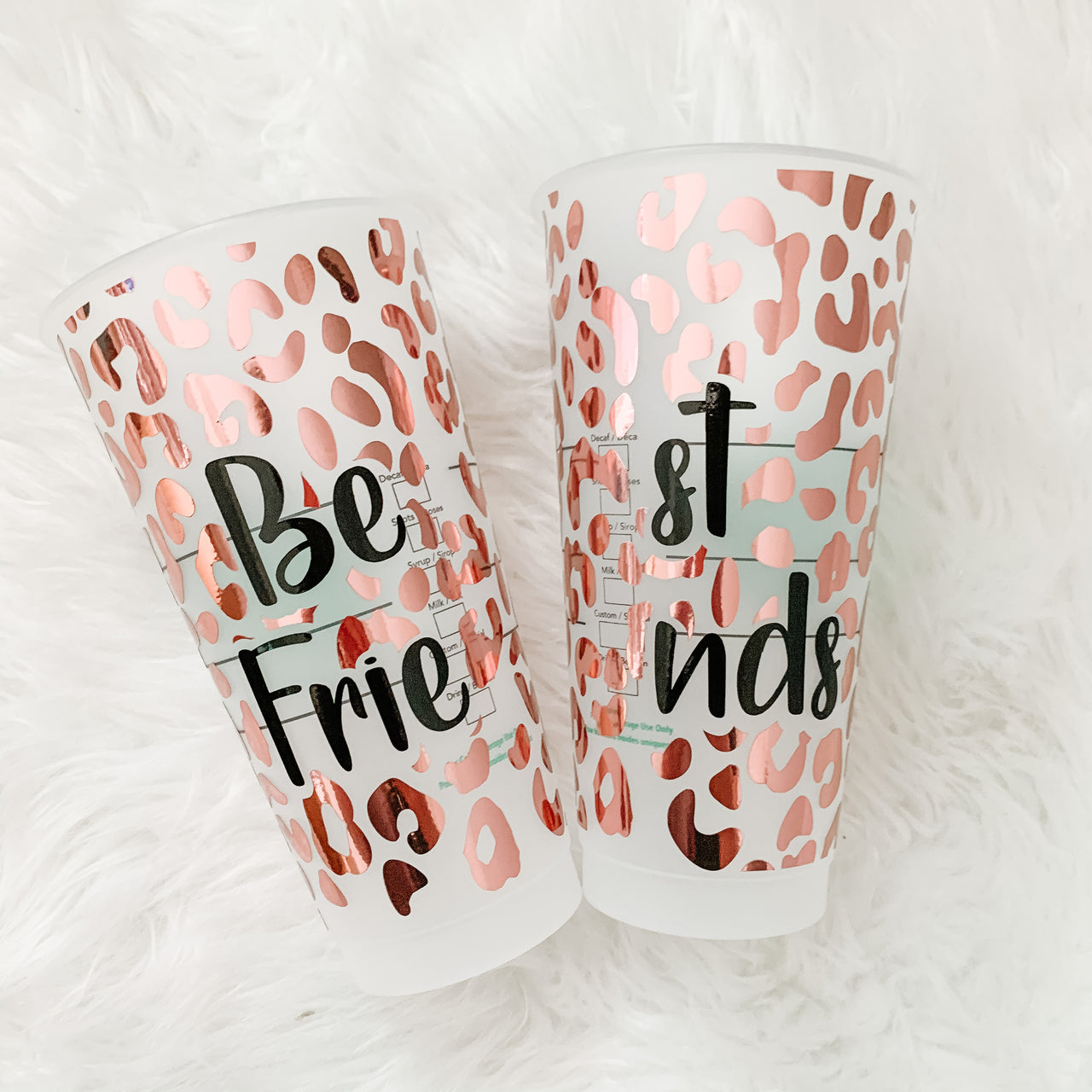 BEST FRIENDS Full Wrap Leopard Print Reusable Starbucks Cup Set