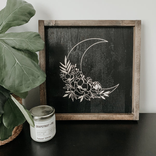 Floral Moon | Framed Sign