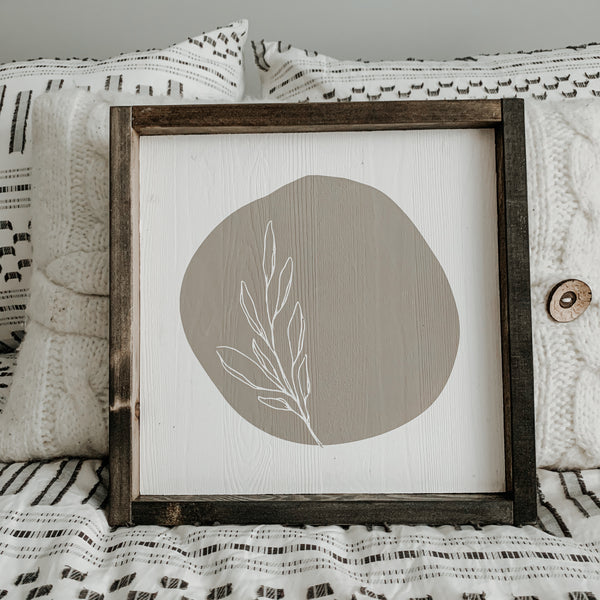 Minimal Floral (Taupe Circle) | Framed Sign