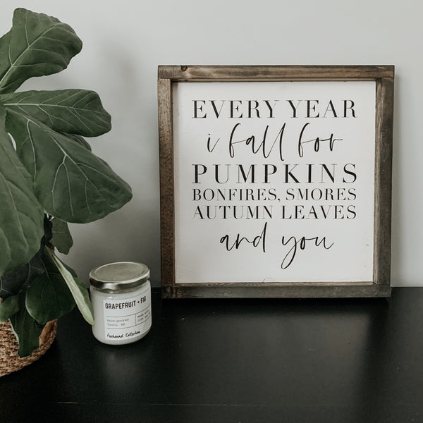 Every Year I Fall (White) | Framed Sign