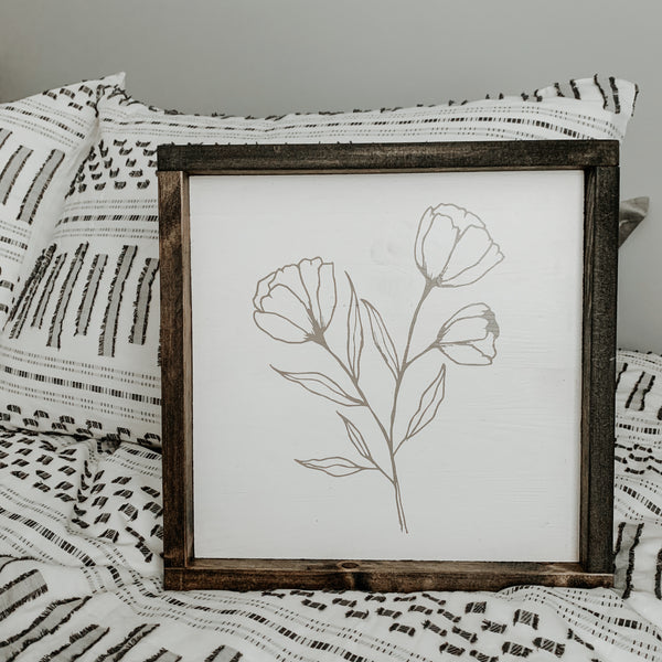 Minimal Floral (Line Drawing) | Framed Sign
