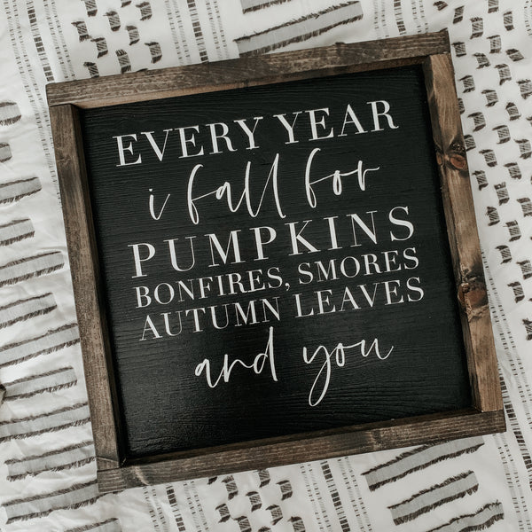 Every Year I Fall (Black) | Framed Sign