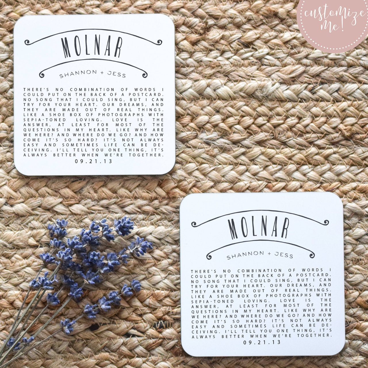 Song Lyric Custom Coasters