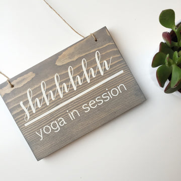 Reversible Yoga in Session Sign   Open & Closed Wood Sign